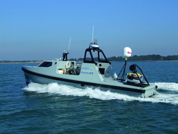 image of Thales minesweeper boat in the sea