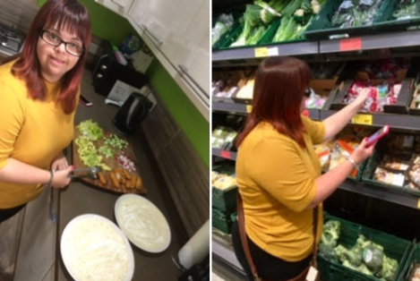 Images of Kelly using the Health Swap app in a supermarket and at home, when cooking.