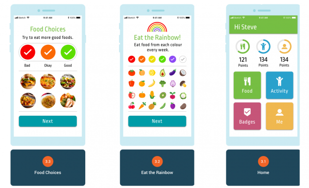 Image of the app's interface, showing bright, visual icons to track healthy eating.